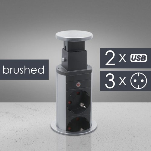 Rejtett elosztó 3-as + 2 USB szálcsiszolt