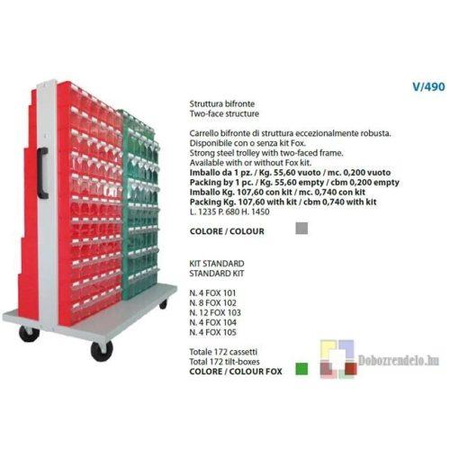 V490 FOX Guruló, billenőfiókos tárolórendszer